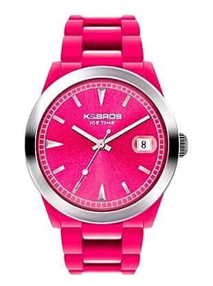 K&BROS 9539-7 / Reloj Unisex  con correa de caucho fucsia