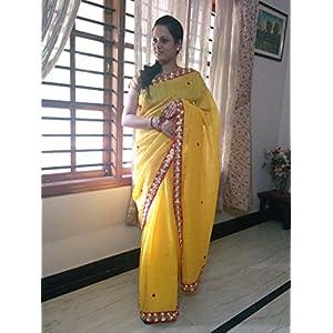 SevenFolds Yellow Jute Cotton Designer Saree