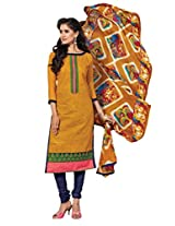 Suchi Fashion Yellow & Dark Blue Embroidered Chanderi Semi Stitched Salwar Suit