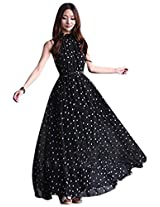 Women's Elegant Chiffon Dot Vest Maxi Full Long Dress Sleeveless With Belt|M|Black