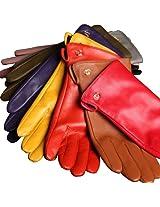 WARMEN Women's Genuine Nappa Leather Winter Warm Simple Plain Style Lined Gloves (S, Yellow)