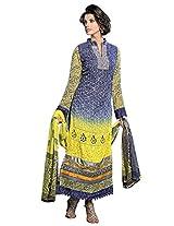 Vibes Women Gorgette Salwar Suit Dress Material (V170-1409 -Grey -Free Size)