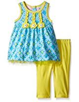 Kids Headquarters Baby Printed Jersey Mesh Tunic and Yellow Capri, 12 Months