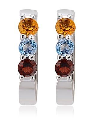 Divas Diamond Pendientes Multi Color Gemstone Plata