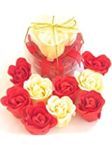 Valentine Heart, Charming Rose Scent Bath Bomb, 9 Colorful Rose Flower, Yellow And Red.