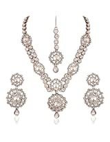 I Jewels Traditional Rhodium Plated Jewellery Set with Maang Tikka using Austrian Diamonds for Women IJ249ZW (White)