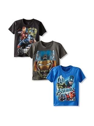 Freeze Boy's Avengers 3-Pack T-Shirt Bundle (Black/Charcoal/Royal)