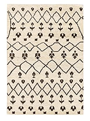 Hand-Knotted Royal Maroc Wool Rug, Cream/Dark Brown, 4' x 5' 10