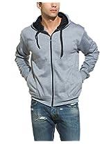 Alan Jones Solid Zipper Hooded Sweatshirt