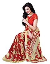 Riti Riwaz Red & Beige saree with unstitched blouse RVL332A