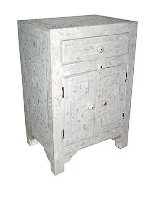 Mili Designs 1 Drawer 2 Doors Bone Inlay Bedside, White/White