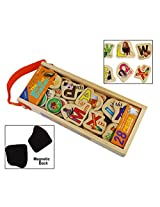 28 Piece Wooden Magnetic Cutout Stickers in Wooden Carry Case for Kids Ages 3+ Years (English World)