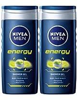 Nivea For Men Energy Body Wash 250 ml (Pack 2)