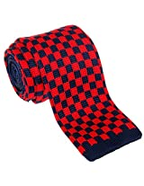 "Retreez Vintage Smart Casual Classic Check Men's 2.4"" Skinny Knit Tie - Navy Blue and Red"