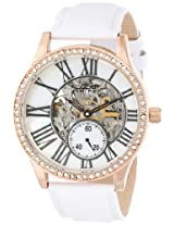 August Steiner Women's AS8035WT Crystal Skeleton Automatic Strap Watch