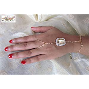 Under the Feather Hand Chain- Gold with Champagne Stone