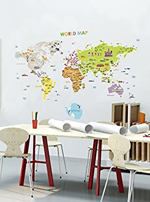 Ambiance Live Wandtattoo Giant World Map for children