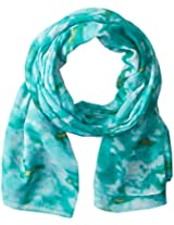 La Fiorentina Women's Ikat Rose Printed Scarf, Teal, One Size