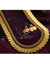 Temple Jewellery Laxmi God Coin Long Necklace Haram Maroon Indian Traditional