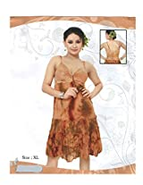 Indiatrendzs Women's Sexy Nighty 2pc Set Brown Nightwear Sleepwear Dress Freesize