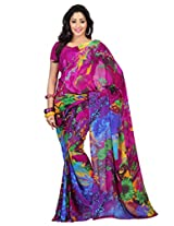 Admyrin Multi Colour Printed Saree with Dark Pink Blouse Piece