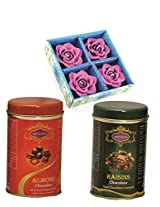 Skylofts 182gms Luscious Chocolate coated Nuts (set of 2) with 4pc candle set Diwali combo