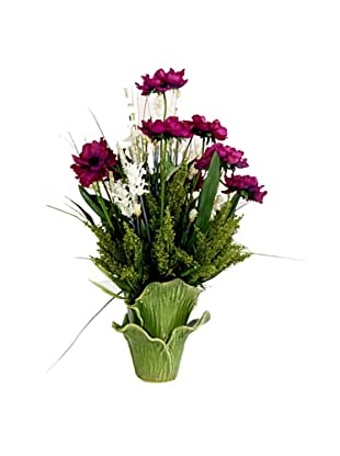 Creative Displays Anemone & Thistle in Green Leaf Pot (Purple)