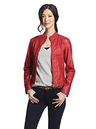 Hawke Women's Faux Leather Jacket with Smocking Detail (Cherry)