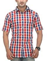 SPEAK Men's Red Checkered Cotton Half Sleeves Casual Shirt