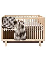 Skip Hop 4 Piece Bumper free Crib Bedding Set Chocolate Lattice