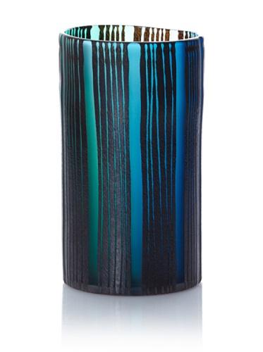 D.L. & Co. Straight-Sided Vase, Peacock Green/Blue, Short