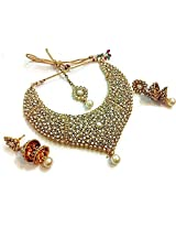 Divinique Jewelry Bridal Pearl polki necklace set with maang tikka