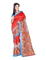 Jai Maa Ambey Creation Women's Cotton Silk Saree (Red)