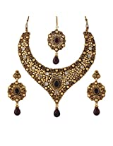Golden Necklace Set With Drop [Jewellery]
