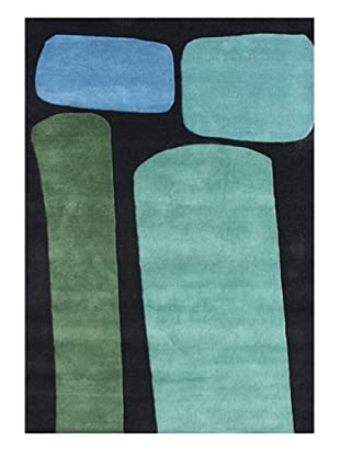 Horizon Rugs New Zealand Wool Rug (Black/Aqua/Blue/Green)