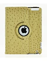 LiViTech(TM) Ostrich Design Series 360 Rotating PU Leather Case Smart Cover for Apple iPad Air, iPad 5 (iPad 4 3 2, L Brown)
