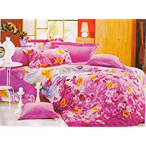 Amethyst Attractive Design Polyester Double Bedsheet with 2 Pillow Covers - Multicolor (RKH-BST-584)
