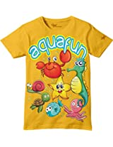Glow in Dark Kids T-Shirt, Aqua Fun Fishes Design by Grasshopr