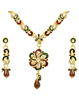 Suratdiamond Red, Green, White, Gold Gold Plated Pendant Necklace With Dangle Drop Earring For Women