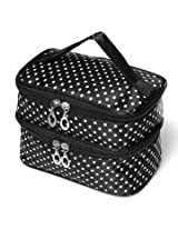 Portable Polyester Double Layer Makeup Cosmetic Toiletries Bag (Black)