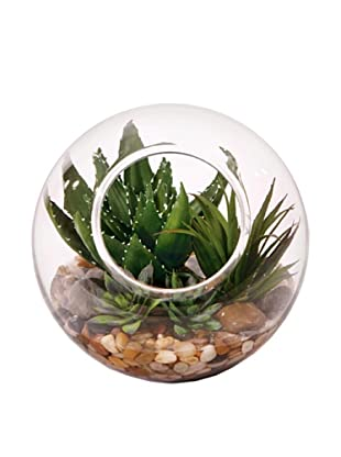 Lux-Art Silks Small Succulent in Bubble Waterlike, Green