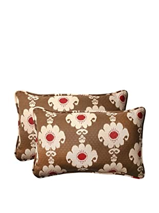 Set of 2 Outdoor Rise and Shine Henna Corded Rectangle Toss Pillowss (Red/Brown/Tan)