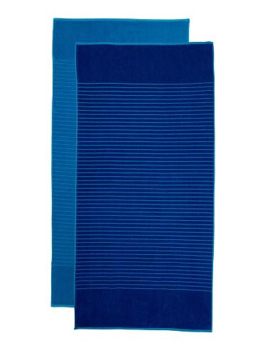Espalma Jumbo Reversible 2-Piece Beach Towel Set, Blue/Light Blue
