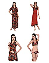 Indiatrendzs Women's Nighty Honeymoon Nighties 6pc Set -Freesize
