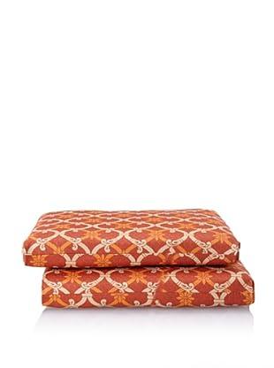 Waverly Set of 2 Sun-n-Shade Heat Wave Squared Seat Cushions (Mango)