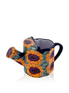 NOVICA Watering Pot, Golden Flowers