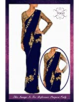 Bollywood Style - Designer Red Net Georgette Saree - S199-Royal Blue (SIA -S-Series)