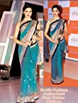 Deepika Padukone Net Green Bollywood Style Saree - SSBW24