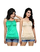 Alba Women's Camisole (Pack Of 2) (CC054GS_Green/Skin_Medium)