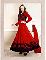 12101_Evelyn sharma Red Embroidered Ankle length anarkali suit